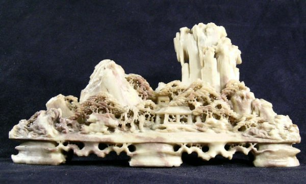 400: Chinese Soapstone Landscape Carving