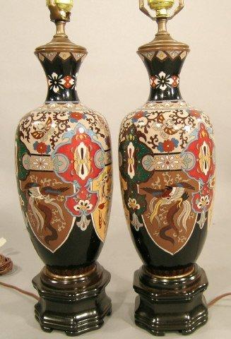 416: Pair Japanese Cloisonné Vase Lamp Bases