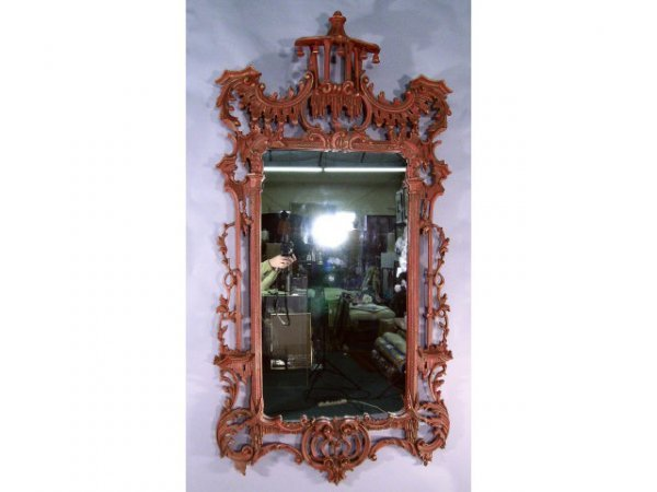417: Chinese Chippendale Mirror RED and Gold - 2