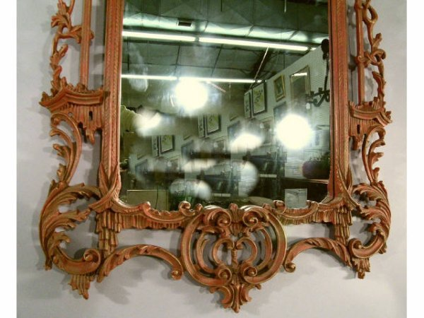 417: Chinese Chippendale Mirror RED and Gold - 4