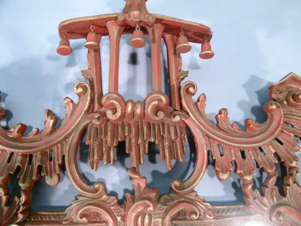 417: Chinese Chippendale Mirror RED and Gold - 7