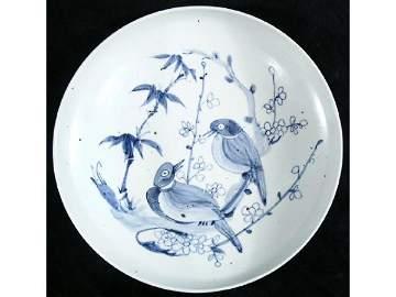 632: Korean 19th c. Pottery Bowl Blue and White