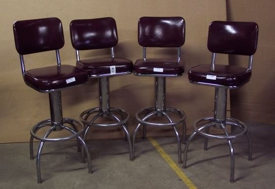 95: DIXIE CHICKEN CHROME AND LEATHER BAR STOOLS