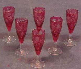 Ruby Etched Glass Vintage Cordials