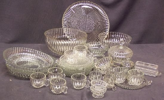 1082: 33 Piece Depression Glass Dishes National