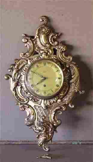 French Louis XIV style Brass Clock German Vigor