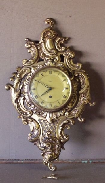 1085: French Louis XIV style Brass Clock German Vigor