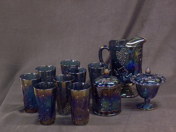 1087: Blue/Gold Carnival Glass Lot
