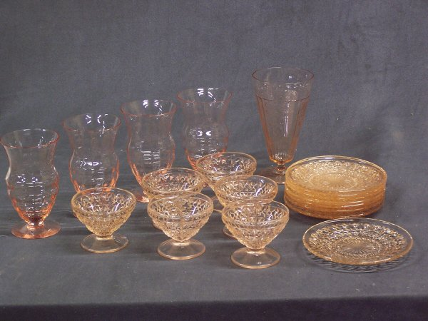 1089: Pink Depression Glass Lot Holiday, Mayfair, Optic