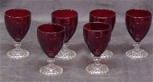6 Ruby and Clear Boopie Juice Glasses
