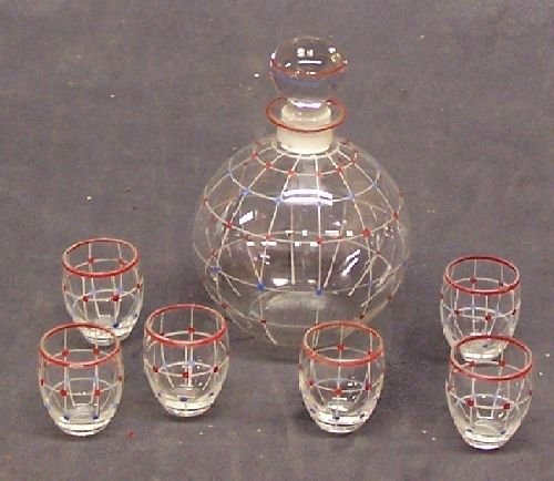 1102: Bohemian Glass Decanter and Cordials
