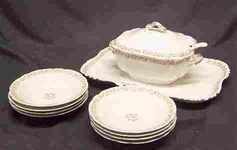 1151: Haviland Limoges Tureen and  8 Soup Bowls