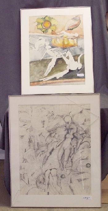 1156: Pair of Erotic Pencil Drawings