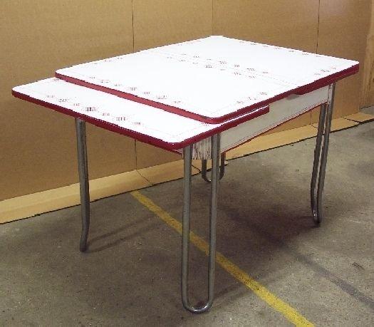1191: Art Deco Red & White Enamel Table Vintage