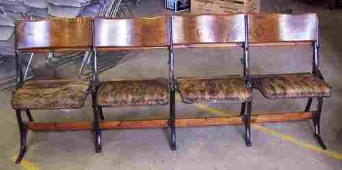 1419: Antique Theatre Seats Oak Cast Iron