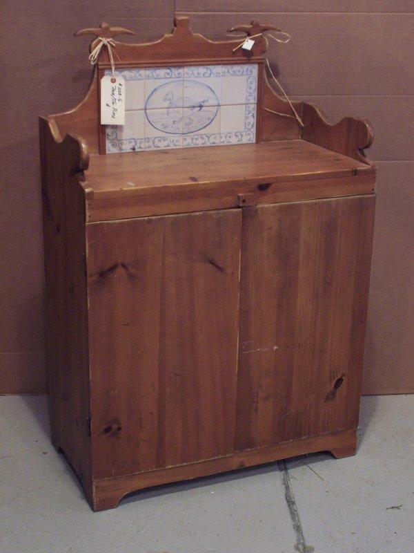 108: Pine Server or Cupboard with Porcelain Tile Back