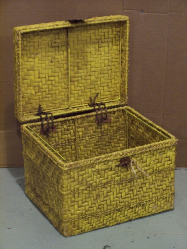 123: Yellow Painted Wicker Basket Box Trunk