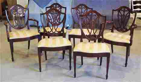 130: 6 Shield Back Hepplewhite Dining Chairs