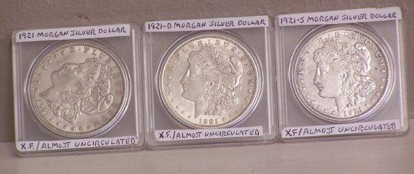 102: Morgan Silver Dollar-3 coin set 1921,1921-D,1921-S