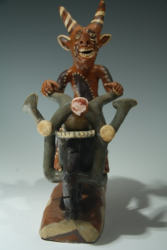 Ocumicho Ceramic Devil Riding Bike