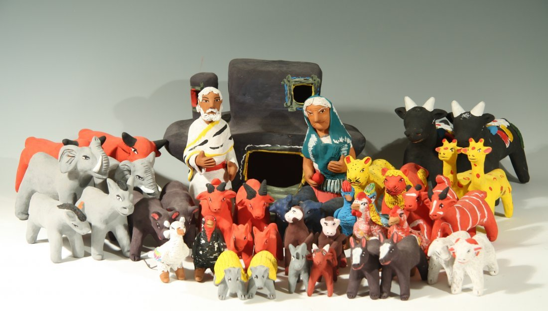 Noah's Ark Scene w/40 Figures by Josefina Aguilar