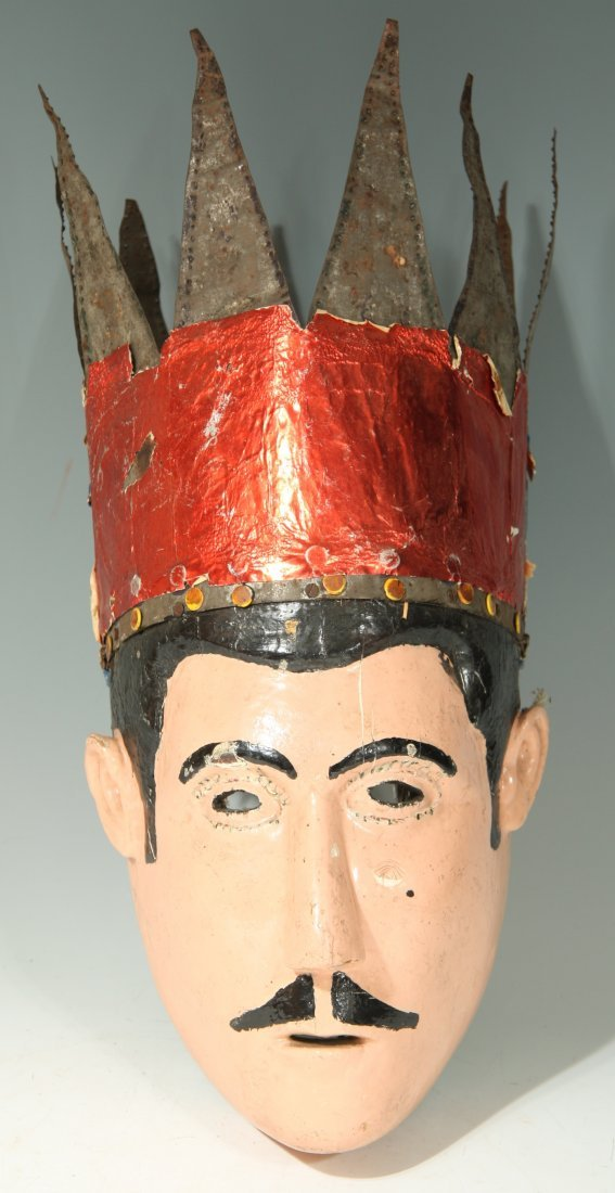 Crowned Wooden Carnival Mask From Mexico