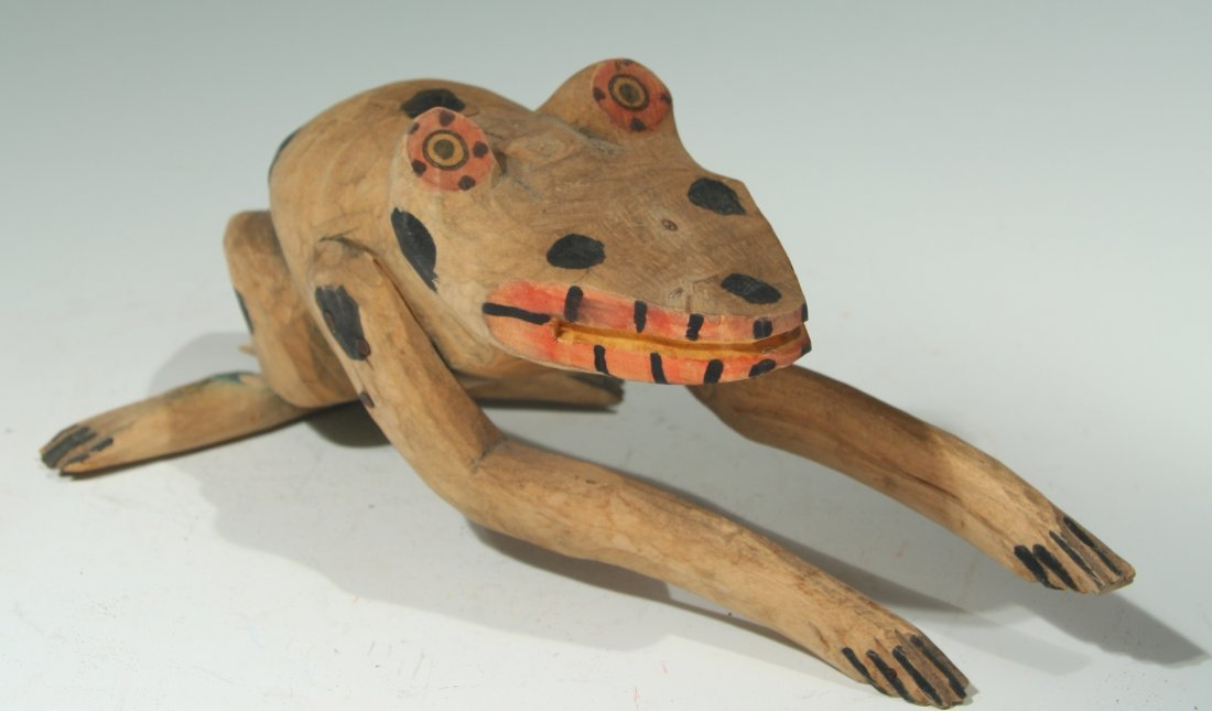 Rare Carved Wooden Frog by Manuel Jimenez