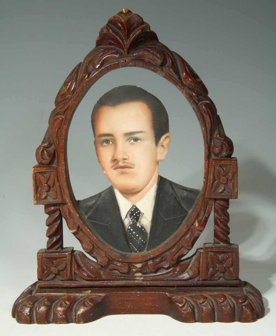 Ornately Carved Wooden Photo Sculpture From Mexico
