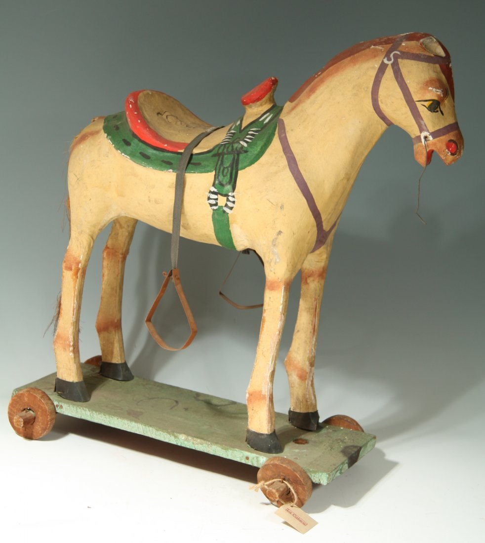 Paper Mache Horse on Wooden Base
