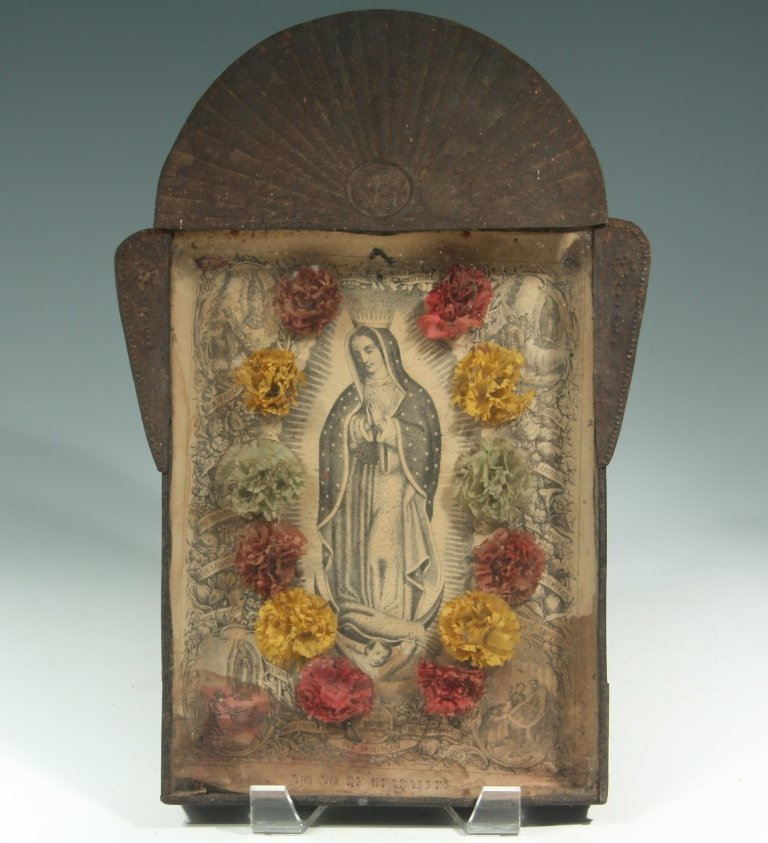Tin Nicho with Guadalupe Lithograph