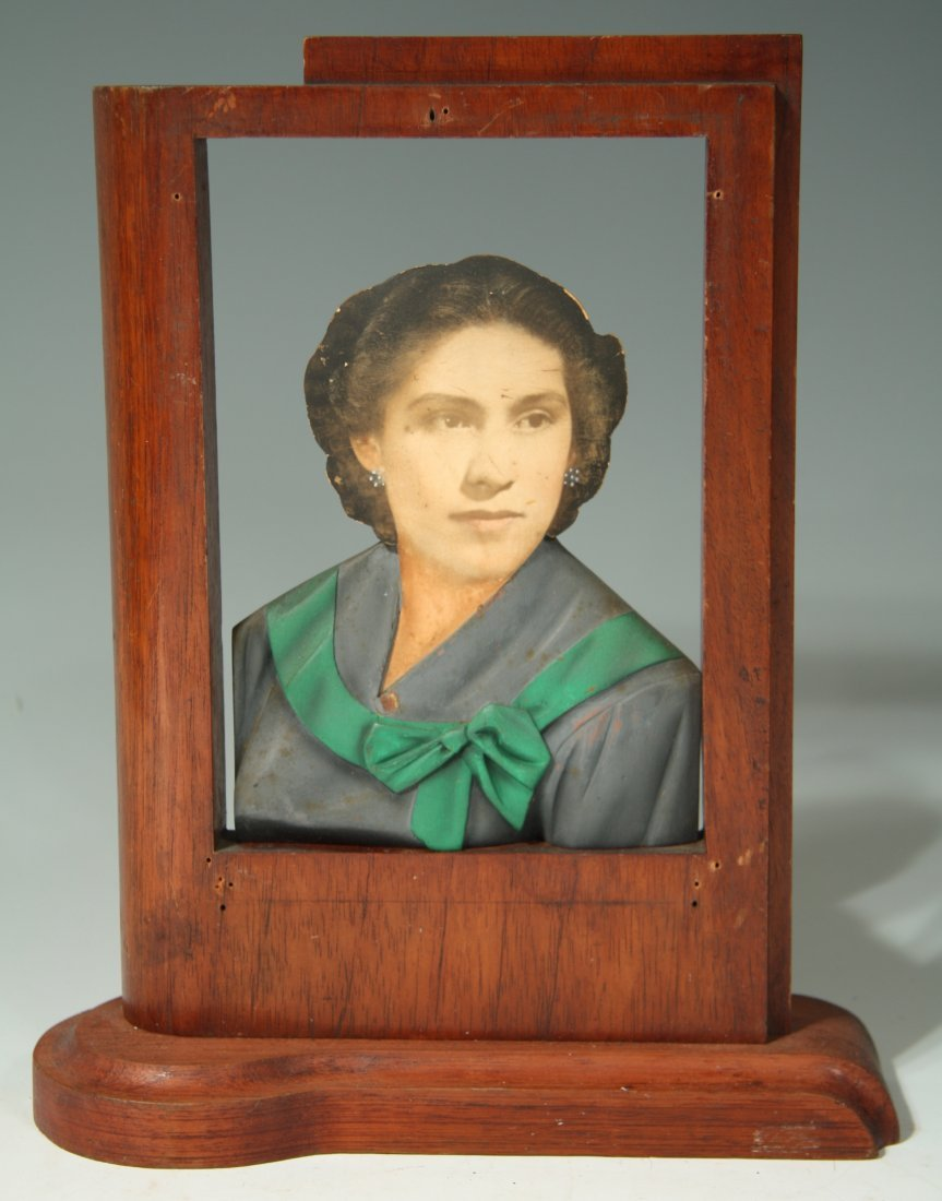 Carved Wooden Photo Sculpture of Woman
