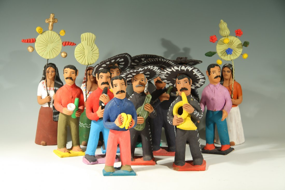 Mariachi Band Scene with 13 Figures By Josefina Aguilar
