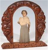 Antique Carved Wooden Photo Sculpture