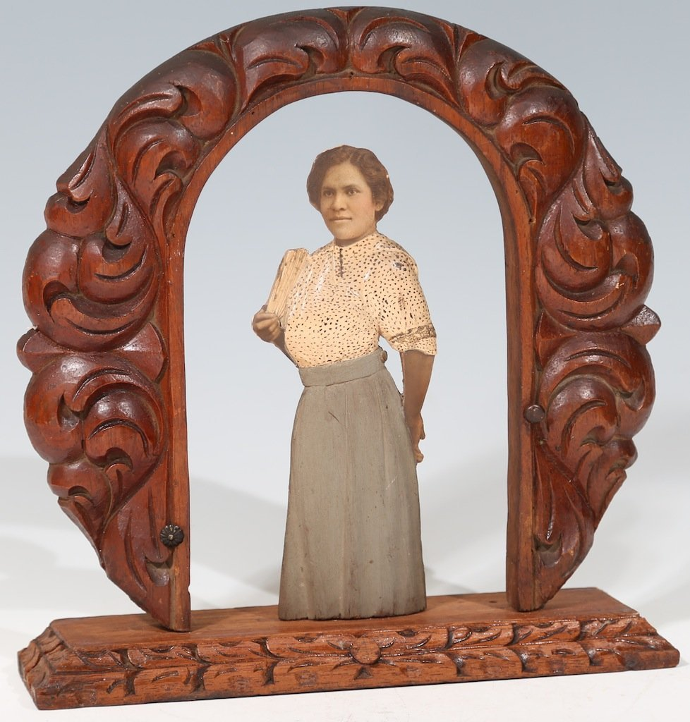 Antique Carved Wooden Photo Sculpture