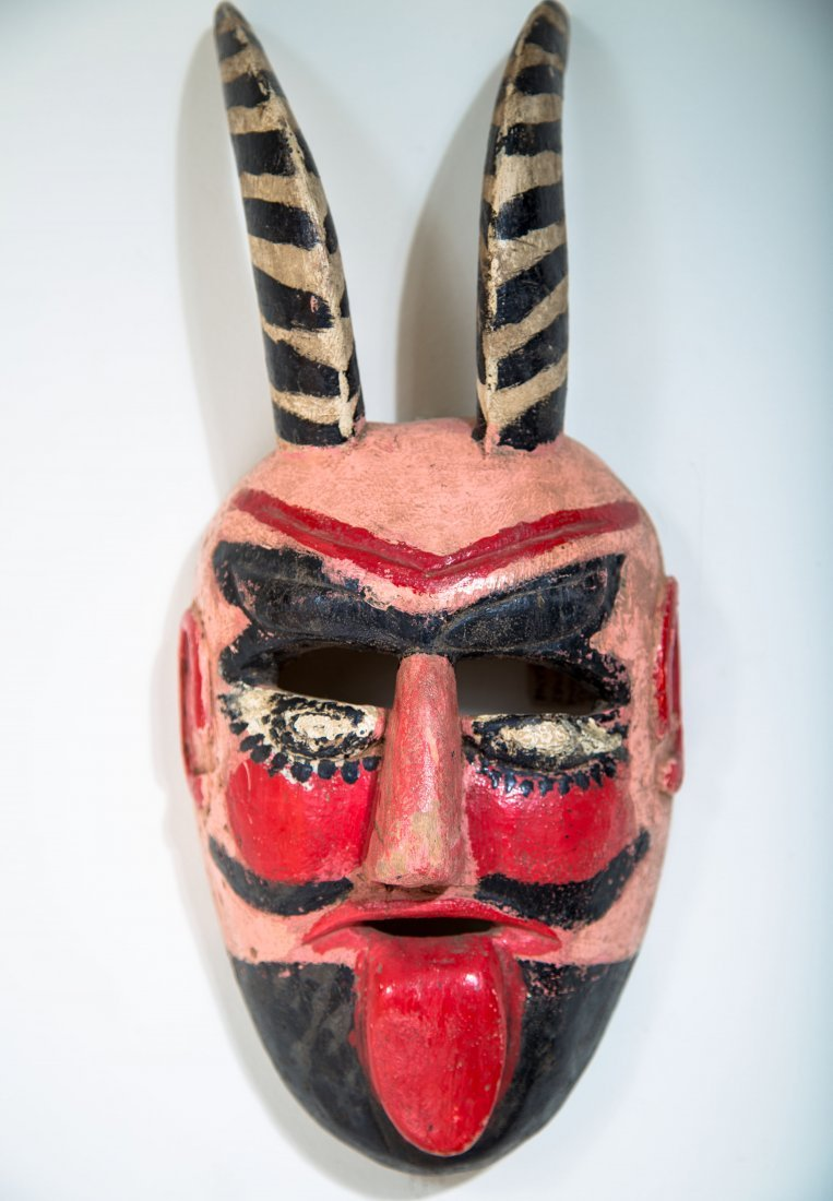 Moors and Christians Dance Mask with Striped Horns