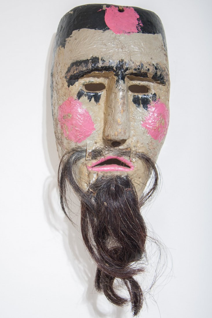 Antique Hand-Made Bearded Mask From Mexico