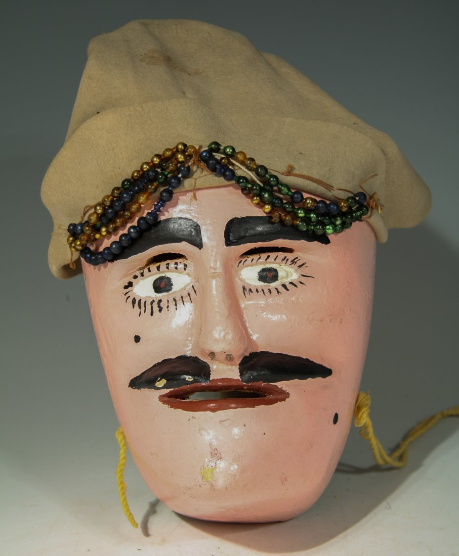 Large Pink Faced Carnival Mask From Mexico