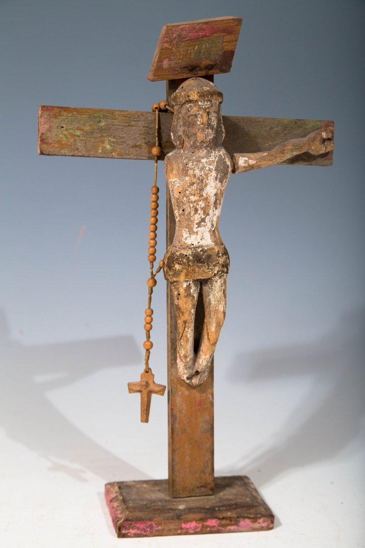 Antique Wooden Crucifix with Rosary