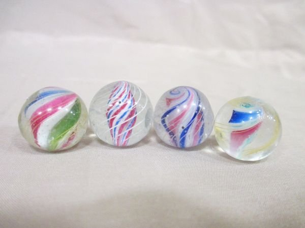 """LOT (4) Solid Core Swirls, all are 11/16"""" in size, good"""