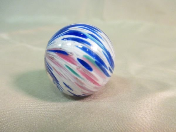 """Onionskin Lutz, blue and white, 1 1/8"""" in size"""