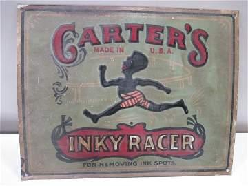 Carters INKY RACER metal sign, embossed, shows wear