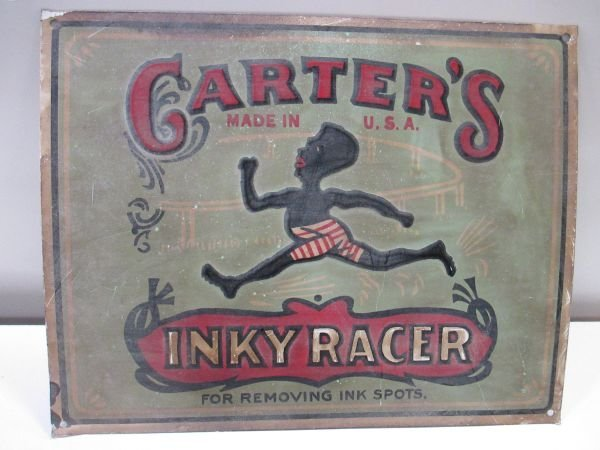 Carters INKY RACER metal sign, embossed, shows wear