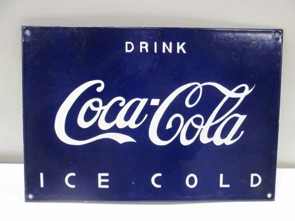 Blue European Coca Cola Porcelain Sign, near mint, NOS,
