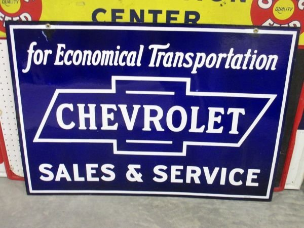 Chevrolet Sales & Service Porcelain Sign, double sided,