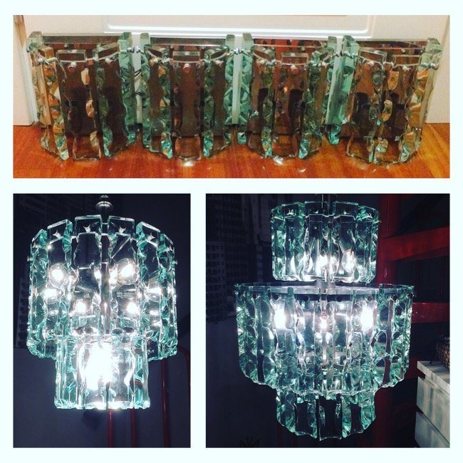 Italian Manufacture, set chandeliers and sconces 1970