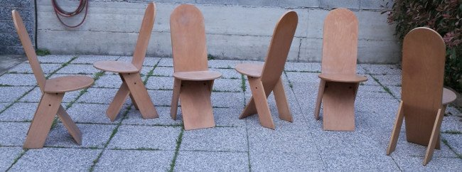 Marco Zanuso, six chairs 1960