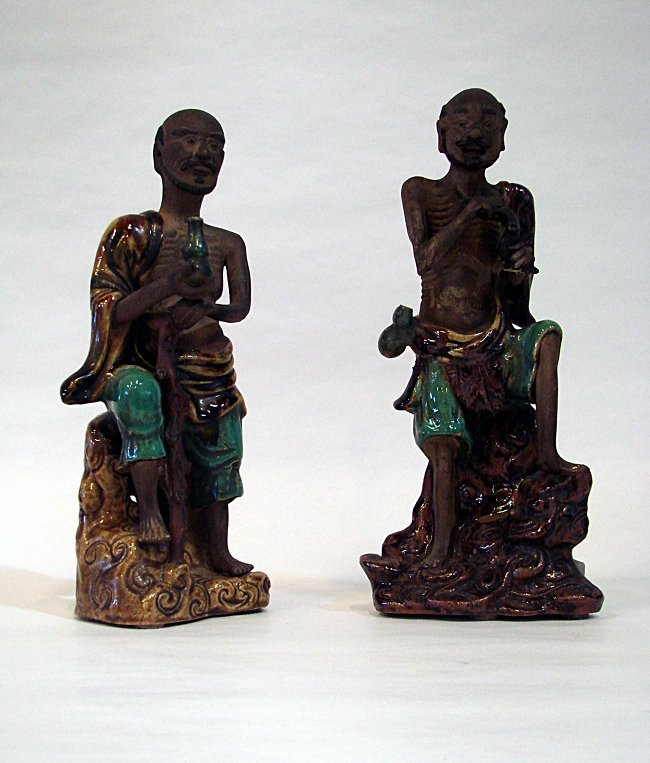 Chinese Manufacture, 2 clay sculptures