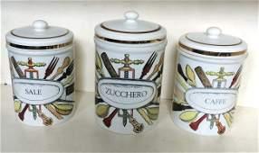 Piero Fornasetti, three jars