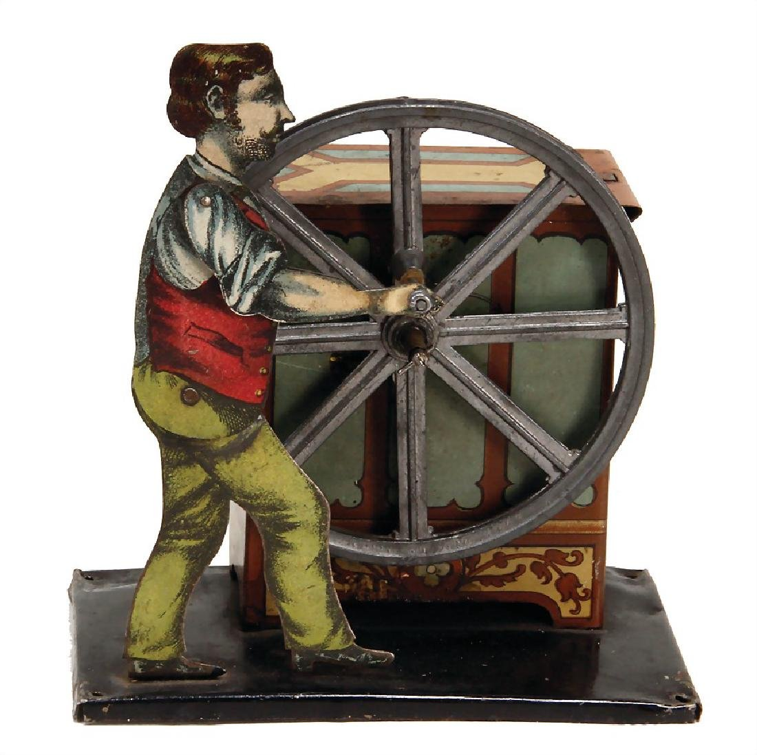drive model, man at barrel organ, with music mechanism,