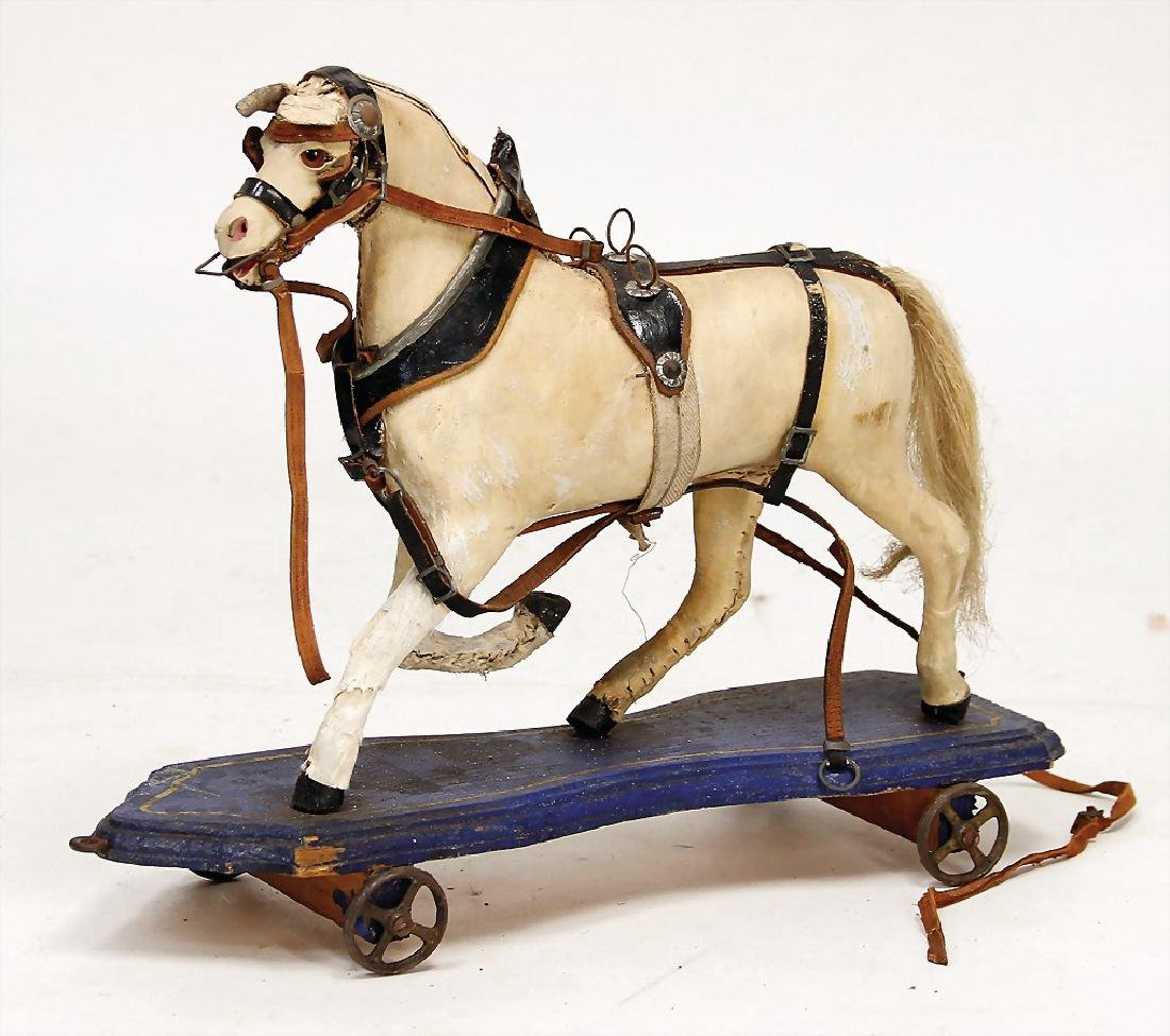 draft horse, wood, pelt covered, strongly worn, with